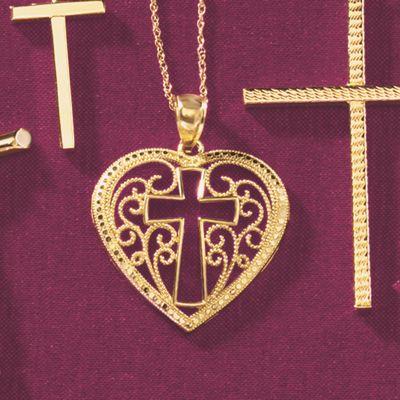 Gold Heart/Cross Pendant