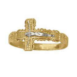 2-Tone Gold Crucifix Ring