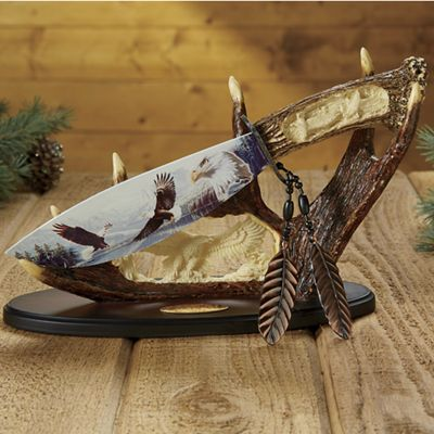 Personalized Wildlife Knife with Antler Stand