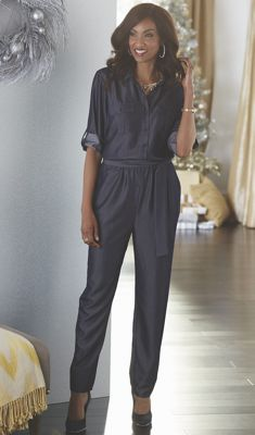 Denim-Look Jumpsuit by Steve Harvey