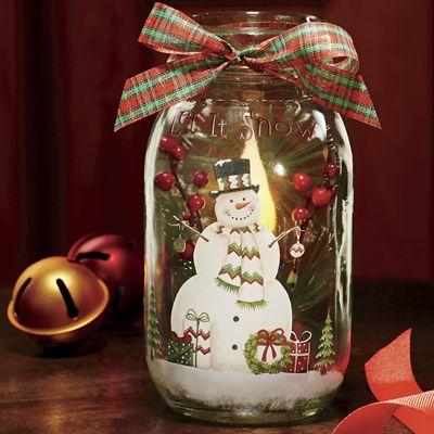Lighted Snowman Mason Jar