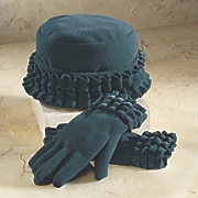 Ruffle Trim Glove and Hat Set