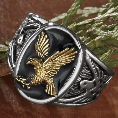 Stainless Steel Men's Two-Tone Eagle Ring