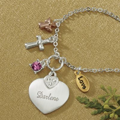 Name/Birthstone Heart and Charms Pendant