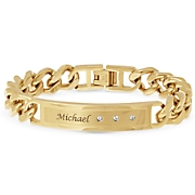 Name/Bar Bracelet with Cubic Zirconia Accents