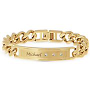 men s name bar bracelet with cubic zirconia accents