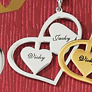 Silvertone Couples Name Heart Necklace
