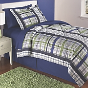 Navy Green/Plaid Complete Bed Set and Valance