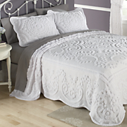 scallop chenille bedspread  sham and panel pair