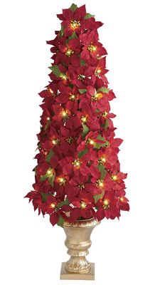 Lighted Poinsettia Tree