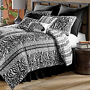 Zebra Chic Reversible Comforter Set, Shams, Pillows and Window Treatments
