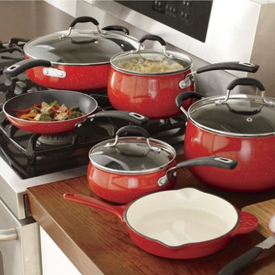 10 piece aluminum speckled cookware set by the pioneer for Toko aluminium kitchen set