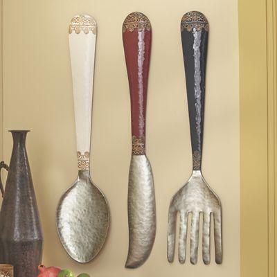Set Of 3 Knife Spoon Fork Wall Décor