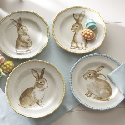 Set of 4 Assorted Bunny Plates & Set of 4 Assorted Bunny Plates | Country Door