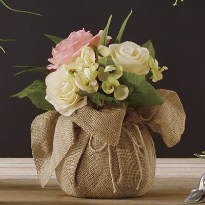 Pink Rose Amp Hydrangea In Burlap From Country Door Ni734016
