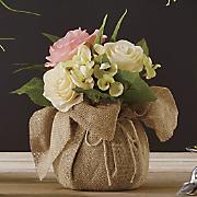 Pink Rose & Hydrangea in Burlap