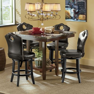 Faux Marble Counter-Height Table and Nailhead Swivel Stool