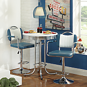 retro high top table and swivel bar stool