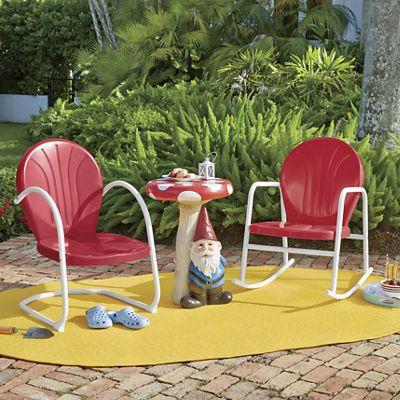 Retro Metal Lawn Furnture and Gnome Table