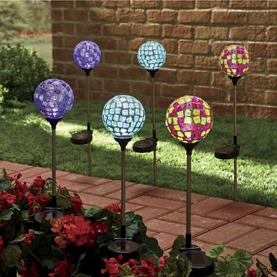 3-Piece Solar Mosaic Stick Light Set