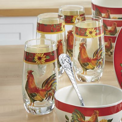 4-Piece Sunrise Sunflower Drinkware Set