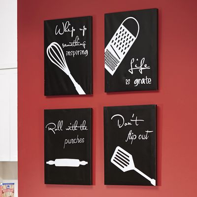 4-Piece Kitchen Canvas Wall Art Set