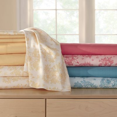 2-Pack, 250-Thread Count Floral & Solid Sheet Set