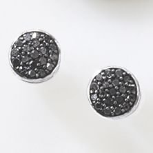 Black Diamond Round Cluster Post Earrings