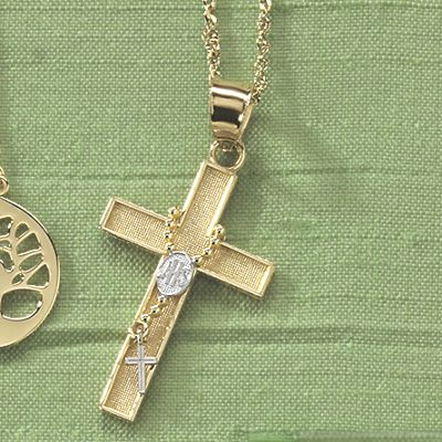 Rosary/Cross Two-Tone Pendant