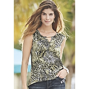 Lace Back Animal Print Top