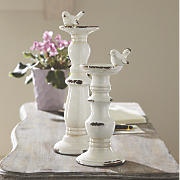 Set of 2 Weathered Bird Candle Holders