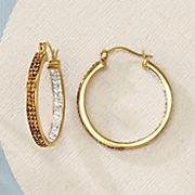 chocolate   white crystal hoop earrings