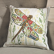 dragonfly outline stitch pillow