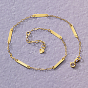 14k gold bar chain anklet