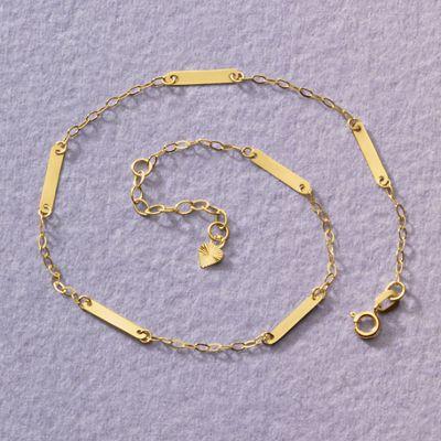 14K Gold Bar/Chain Anklet