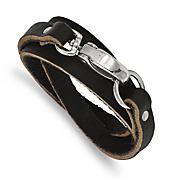 stainless steel black leather wrap bracelet