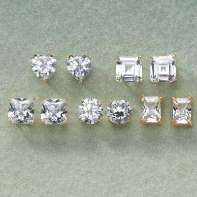 5-Pair Cubic Zirconia Post Earring Set