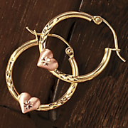 10k yellow and rose gold heart hoops
