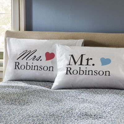 Set of 2 Personalized Mr. & Mrs. Pillowcases