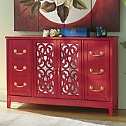 Bold Red Mirrored Buffet