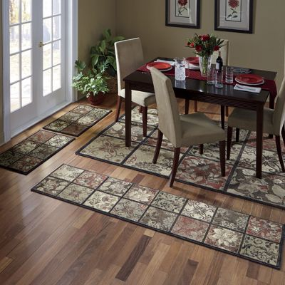 4-Piece Antique Tile Rug Set