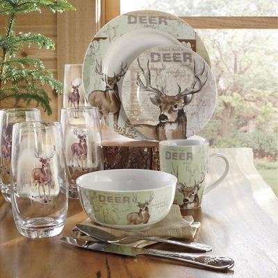 16 Piece Whitetail Deer Dinnerware Set By Canterbury From