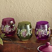 4 pc  assorted grape vineyard stemless drinkware set