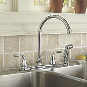 2-Handle Chrome-Finish Faucet with Sprayer