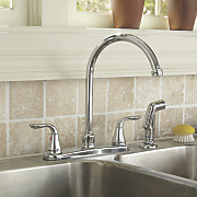 2 handle chrome finish faucet with sprayer