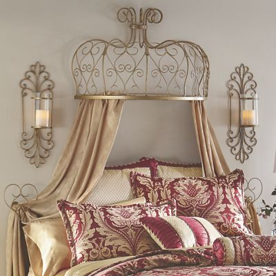 Gold Scroll Bed Crown With Tiebacks From Seventh Avenue