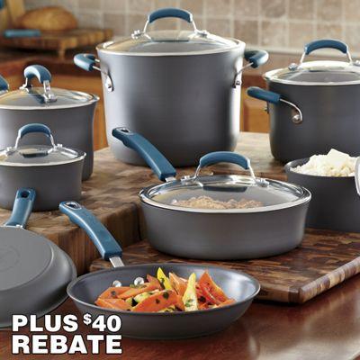 Rachael Ray 14-Piece Marine Blue Hard-Anodized Nonstick Cookware Set