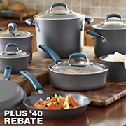 Rachael Ray 14-Piece Marine Blue Hard-Anodized Nonstick Cookware Set