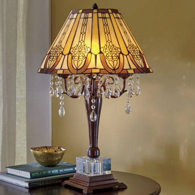Stained glass rococo lamp with crystal beads