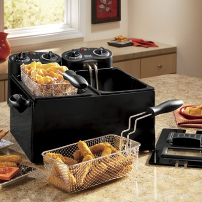 Chef Tested<sup class='mark'> &reg;</sup> 6-qt. Dual Deep Fryer by Montgomery Ward and Set of 3 Deep Fryer Filters